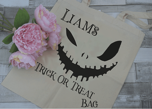 personalised trick or treat tote bag