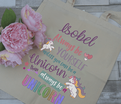 Personalised Always Be Yourself - Unicorn Tote Bag