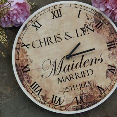 Personalised Vintage Wedding Wooden Clock