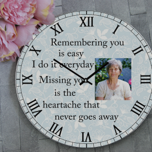 Personalised Remembering You Is Easy Remembrance Wooden Clock