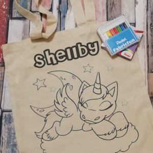 colour your own tote bag - unicorn