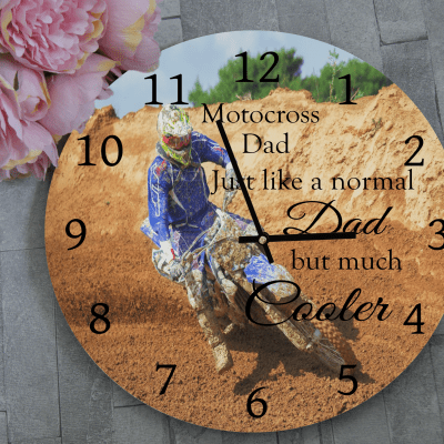 Personalised Motocross Dad Wooden Clock