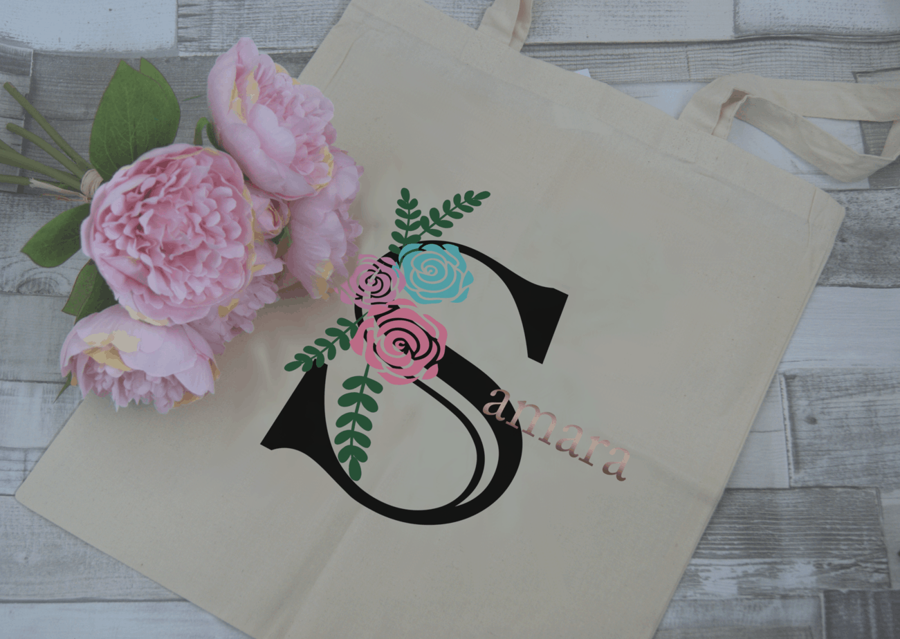Personalised Name Tote Bag With Rose Gold Vinyl Lettering