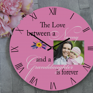 Personalised Nanny and Granddaughter Wooden Clock