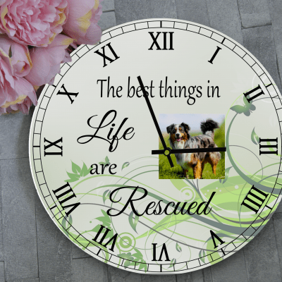 Personalised The Best Things In Life Are Rescued Wooden Clock