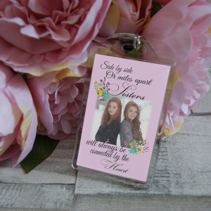 Personalised Side By Side Or Miles Apart Sisters Will Always Be Connected By The Heart Keyring