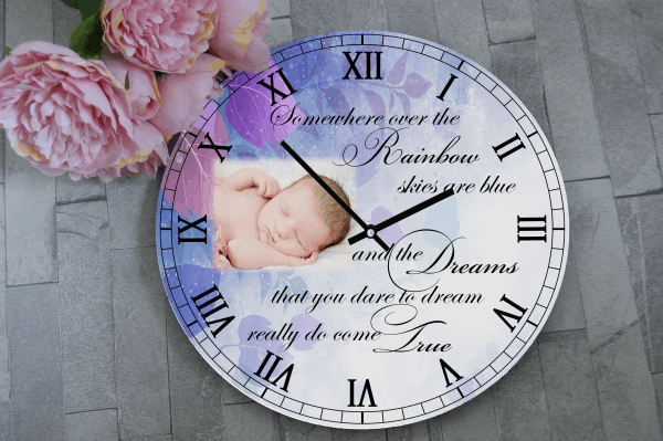 Personalised Over The Rainbow Wooden Clock
