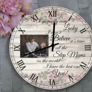 Personalised Step Mum Wooden Clock