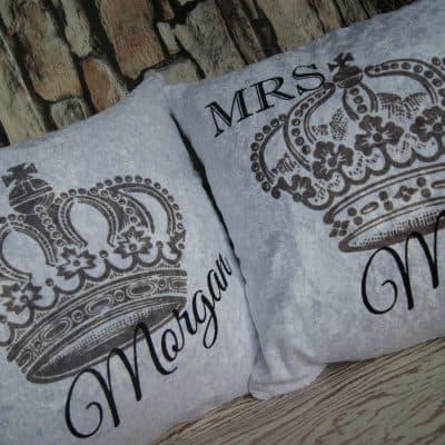 Personalised mr & mrs crown crushed velvet cushion set