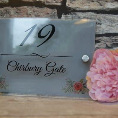 Personalised flower detail acrylic door sign