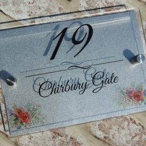 Personalised flower detail acrylic door sign