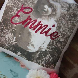 Personalised glitter vinyl name photo cushion