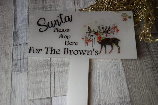 Personalised santa stop here marker