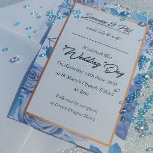 Personalised Set 1 Wedding Invitations and envelopes (pk 10)