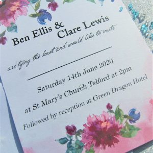 Personalised set 2 wedding invitations and envelopes (pack of 10)