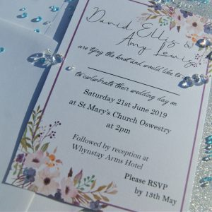 Personalised set 3 wedding invitations and envelopes (pack of 10)