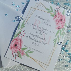 Personalised Set 4 Wedding Invitations And Envelopes (Pack Of 10)