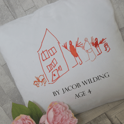Personalised drawing cushion