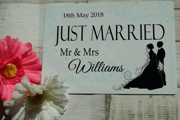 Personalised just married hanging sign