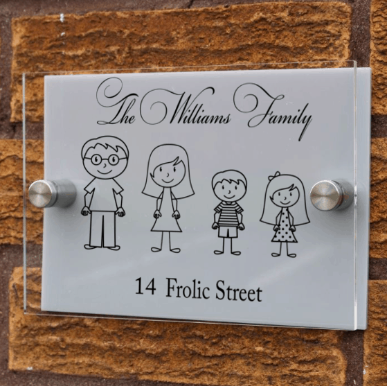 Personalised Stick figure family acrylic door sign