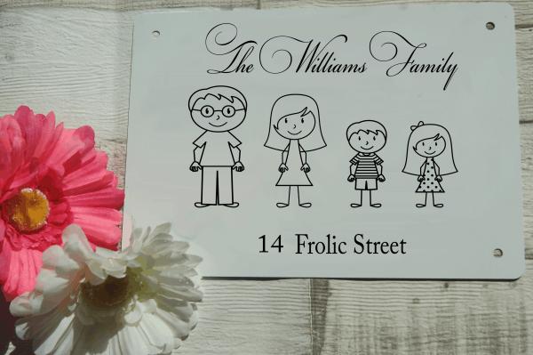 Personalised stick people family aluminium door sign