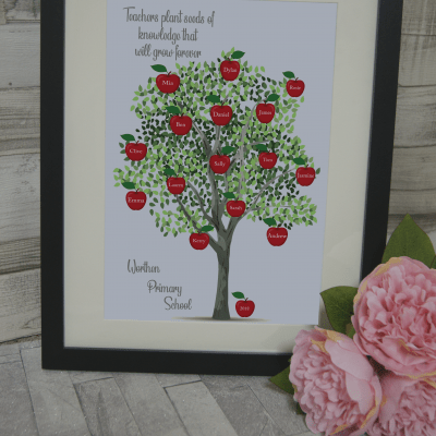 Personalised Teacher Apple Tree Design
