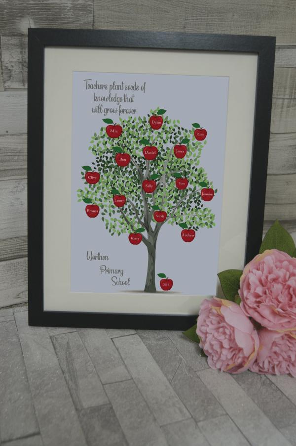 Personalised Teacher Apple Tree Design