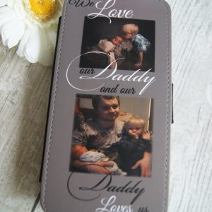 Personalised we love our daddy PU leather phone flip case