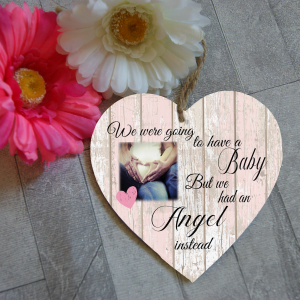 Personalised We Were Going To Have A Baby But We Had An Angel Instead Wooden Hanging Heart