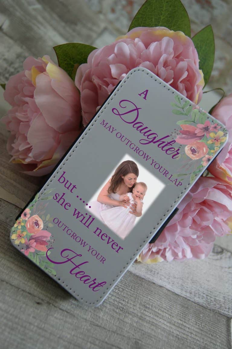 Personalised A Daughter May Outgrow Your Lap PU Leather Phone Flip Case
