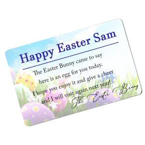 Personalised Aluminium Easter Bunny Card