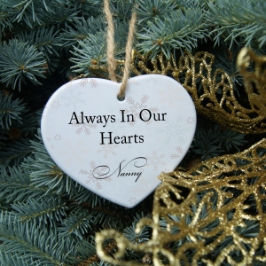 Personalised always in our hearts christmas heart ornament