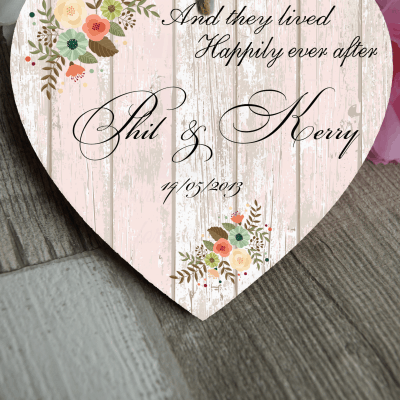 Personalised Happily Ever After Wooden Hanging Heart