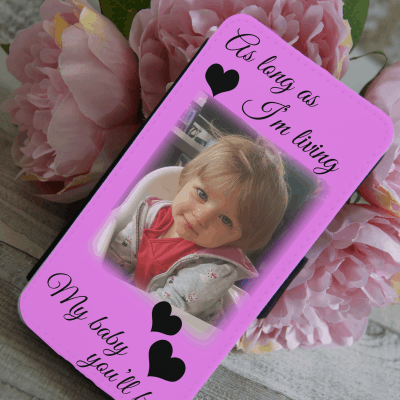 Personalised as long as i'm living my baby you'll be pu leather phone flip case