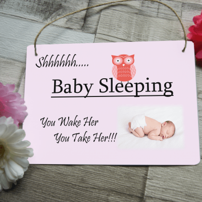 Personalised baby sleeping hanging sign
