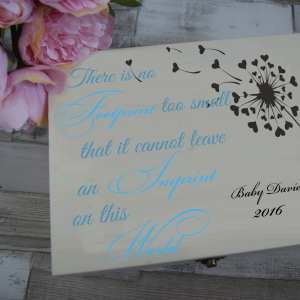 Personalised There Is No Footprint Too Small Baby Boy Remembrance Wooden Box
