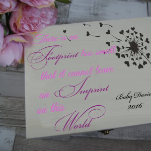 Personalised There Is No Footprint Too Small Baby Girl Wooden Remembrance Box