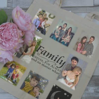 Personalised always and forever family tote bag