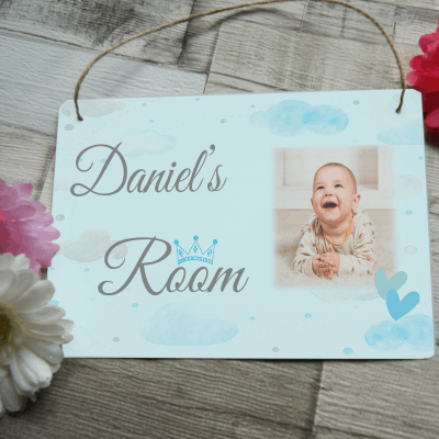 Personalised boys bedroom hanging sign