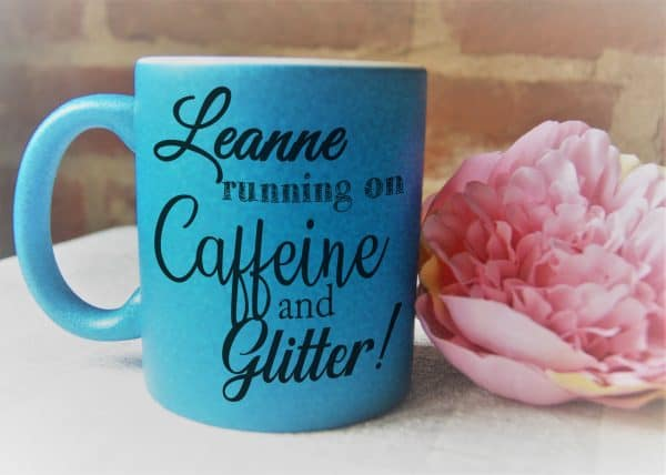 Personalised running caffeine and glitter! glitter mug