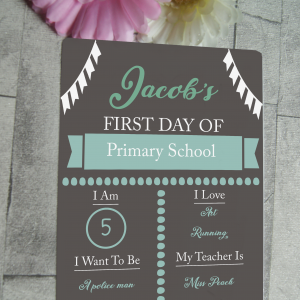 Personalised first day of school chalk board effect hanging sign