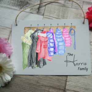 Personalised family coat hanging sign