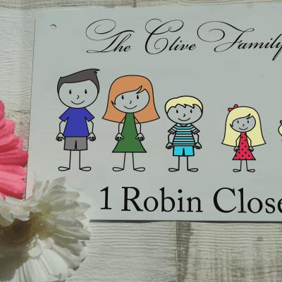 Personalised colour stick people family aluminium door sign