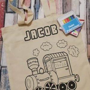 Personalised Train Colour Your Own Tote Bag