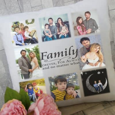 Personalised family forever for always photo cushion