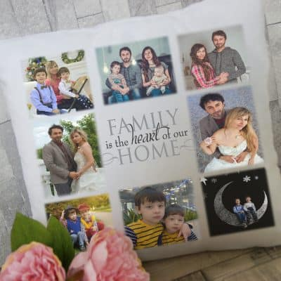 Personalised family is the heart of our home photo cushion