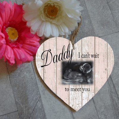 Personalised I can't wait to meet you scan wooden hanging heart