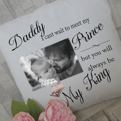 Personalised daddy my king cushion with rose gold vinyl