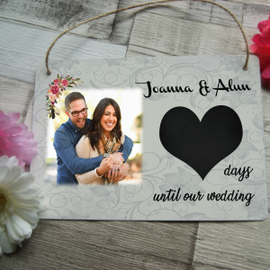 Personalised wedding countdown hanging plaque