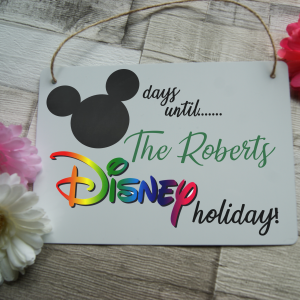 Personalised disney countdown hanging sign